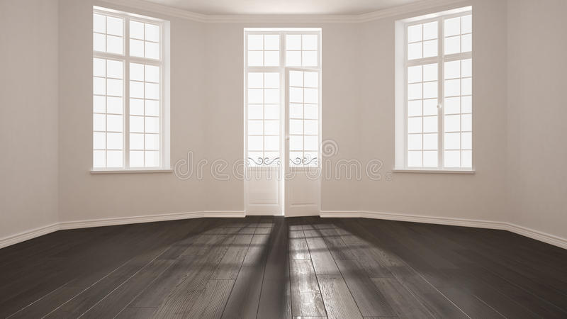 Download Empty Room With Big Windows Ad Parquet Floor Minimalist Classic Stock Illustration