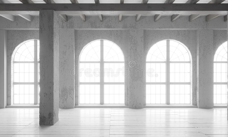 Empty room with big windows, parquet floors and rough walls. stock photography