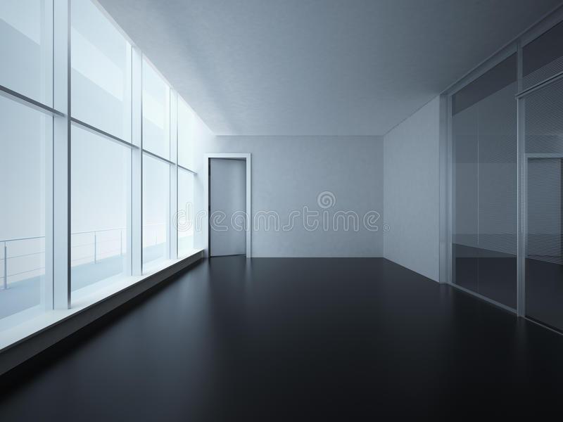 Empty Room with Big Windows vector illustration