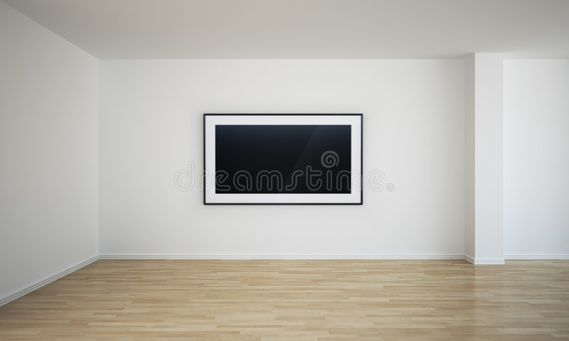 Empty Room With Blank Painting Stock Photo