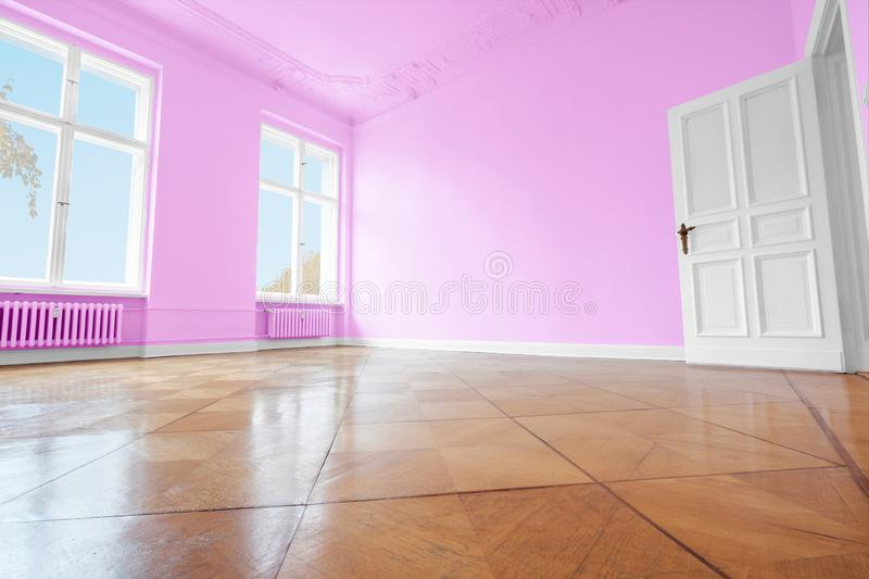 Empty room with blue painted walls, home renovation concept royalty free stock photos