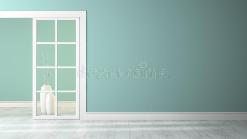 Empty room with blue wall. 3D rendering royalty free illustration