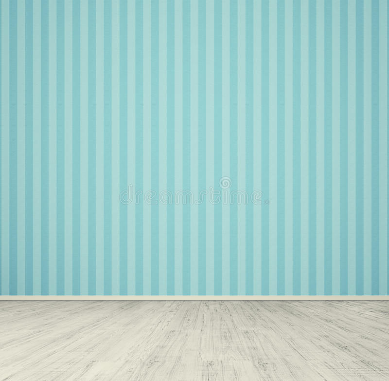 Empty room with blue wallpaper. And white laminated flooring board stock photography