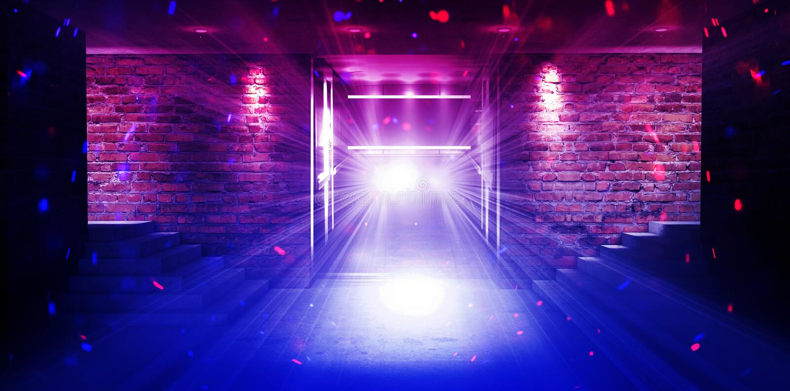 An empty room with brick walls and concrete floor. Empty room, stairs up, elevator, smoke, smog, neon lights, lanterns royalty free stock images
