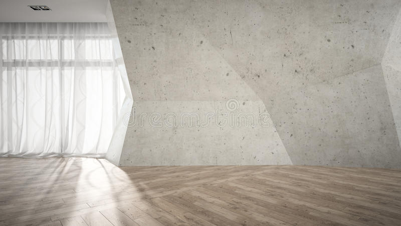 Empty room with broken concrete wall 3D rendering royalty free stock image