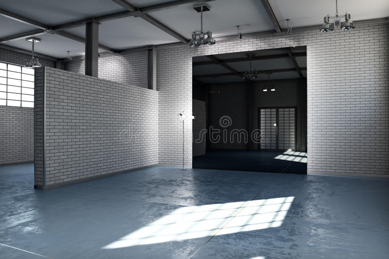 Empty room of a business or residential property with gray brick vector illustration