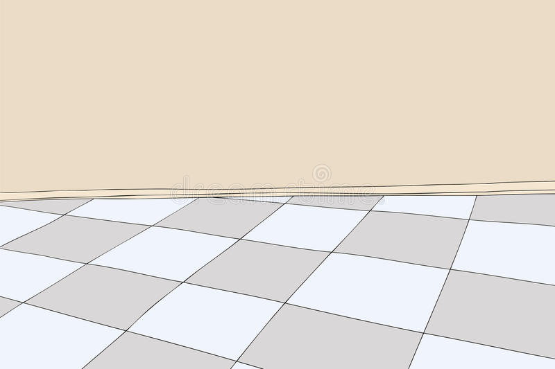 Empty Room With Checkered Floor Stock Illustration