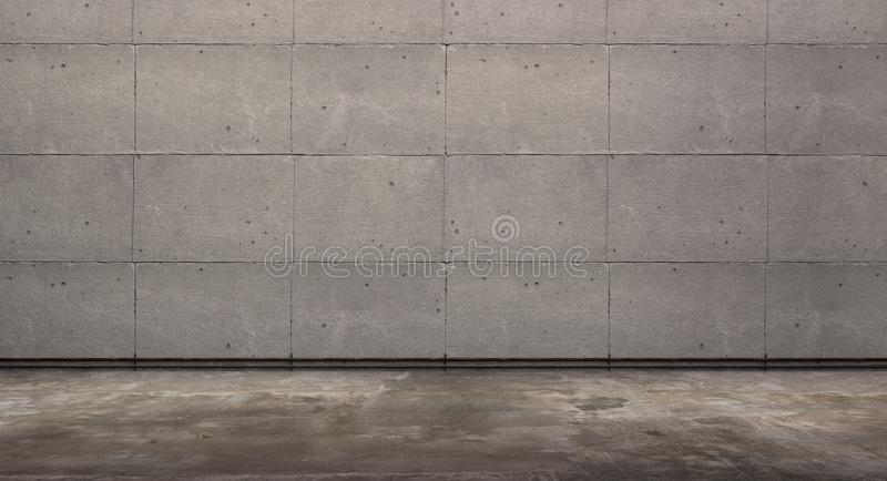 Empty room with concrete wall and grunge floor, 3d Rendering. Empty room with concrete wall , grunge floor, 3d Rendering,waiting room royalty free stock photography
