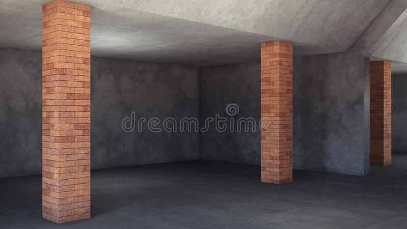 Empty room concrete walls in 3d style on light background. Abstract grunge background. Cozy living room. Dirty vintage texture. royalty free stock photos
