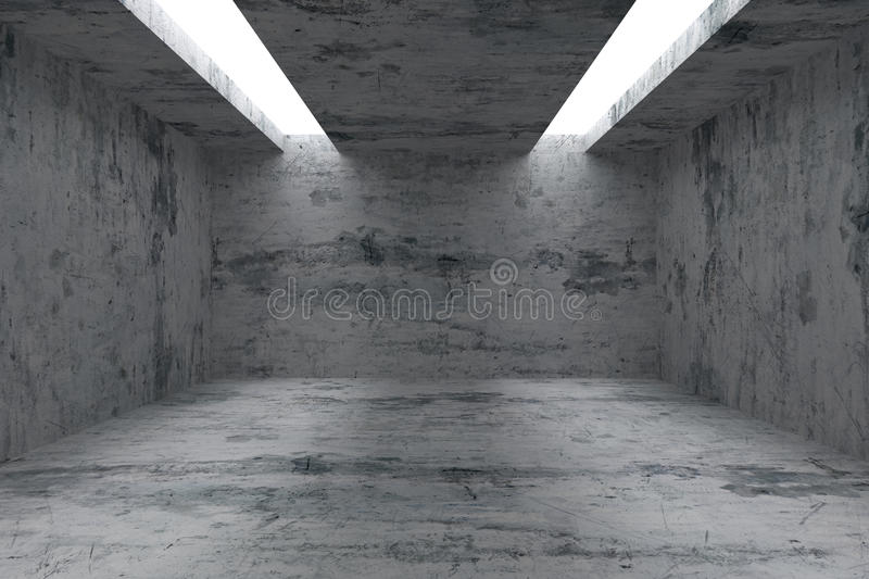 Download Empty Room With Concrete Walls And Opening In Ceiling Stock Illustration