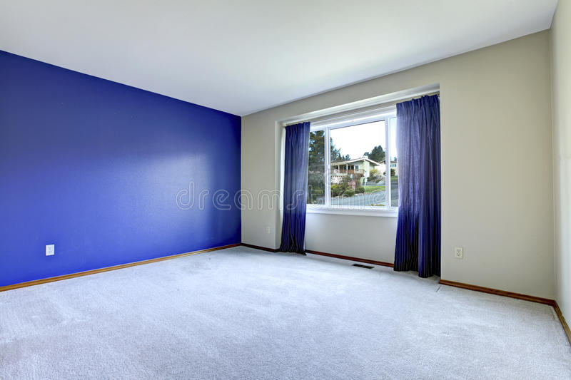 Empty Room With A Conctrast Royal Wall Stock Photo