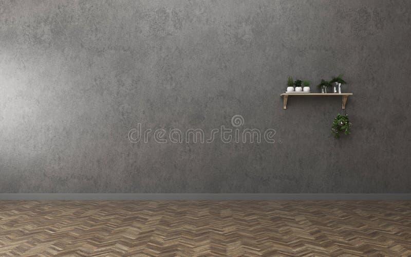 Empty room in condominium. living room with shelf. vintage interior design. 3d rendering royalty free illustration