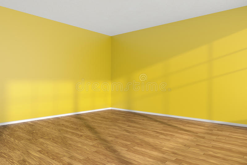 Empty Room Corner With Yellow Walls And Wooden Parquet