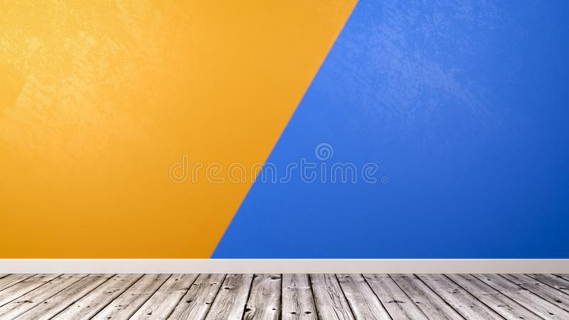 Empty Room with Duotone Wall Background stock illustration