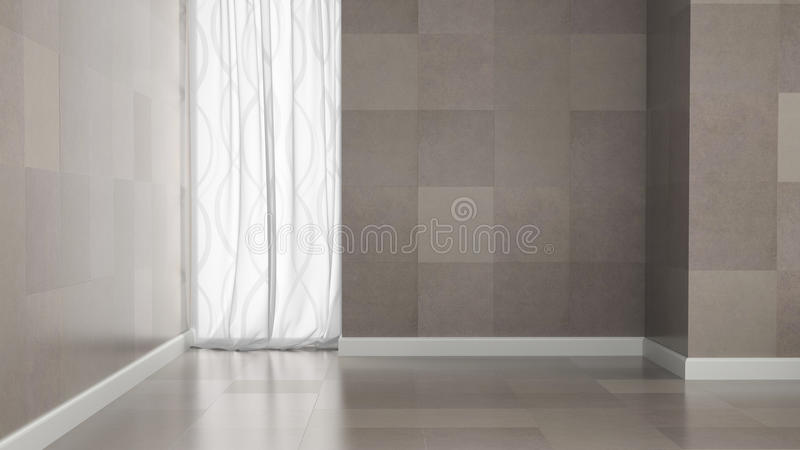 Empty room with granite tile walls vector illustration