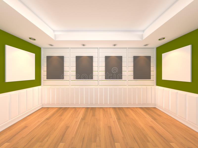 Empty room green with frame gallery stock illustration