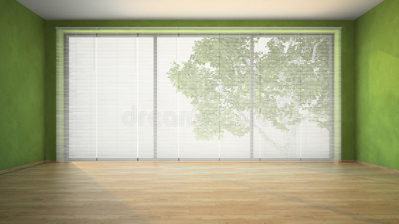 Empty room with green walls. 3D stock image