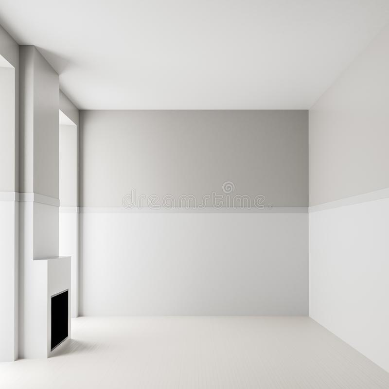 Empty room interior background with fireplace. Modern, empty, bright interior with blank white walls. 3D illustration stock photo