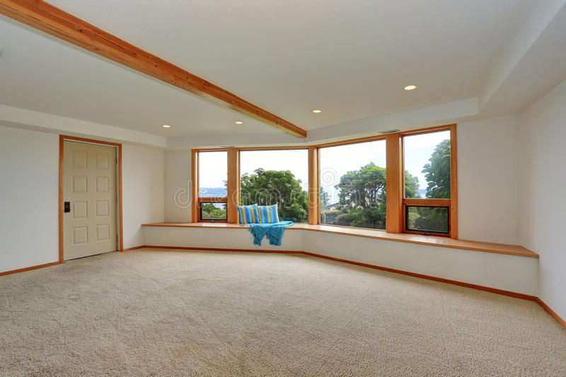 Empty Room Interior With Carpet Floor And Large Sitting Area Stock ...