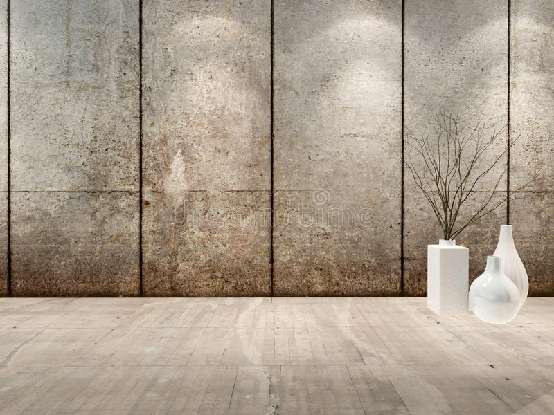 Empty room interior with concret wall stock illustration