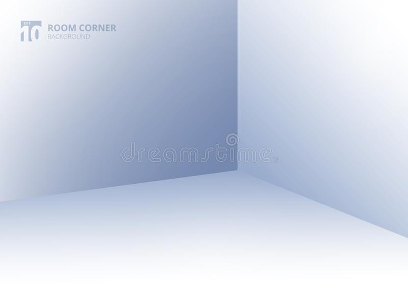 Empty room Interior corner view template blue background with white light. Mock up template for display design space for you text stock illustration