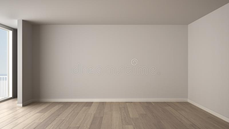 Empty room interior design, open space with big panoramic window, balcony on sea panoramic view, parquet wooden floor, modern. Contemporary architecture royalty free illustration