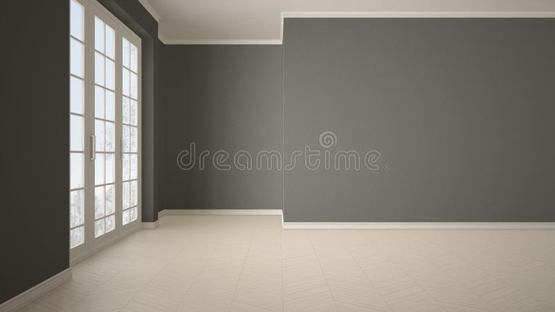 Empty room interior design, open space with big panoramic window on winter meadow with snow and trees, parquet herringbone wooden. Floor, white and gray, modern royalty free stock image