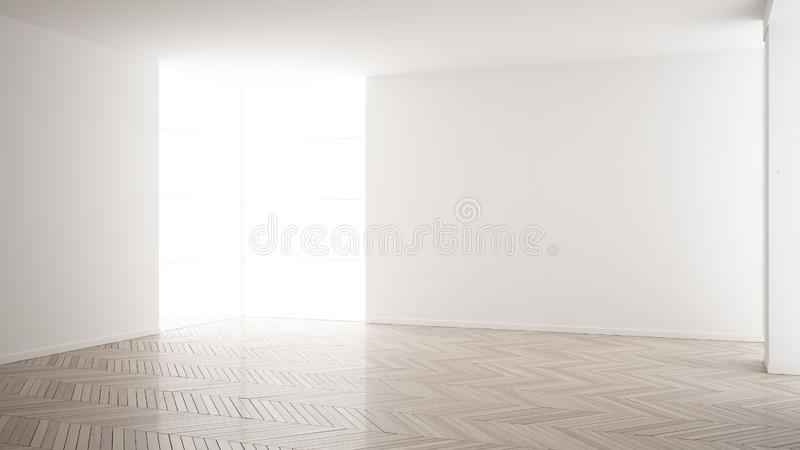 Empty room interior design, open space with white walls, modern style, parquet wooden floor, minimalist contemporary architecture. Concept, mock-up royalty free illustration