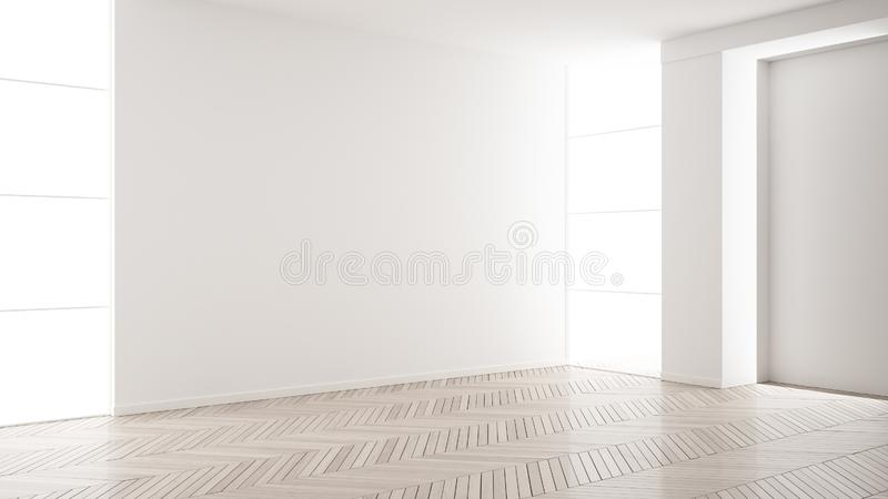 Empty room interior design, open space with white walls, modern style, parquet wooden floor, minimalist contemporary architecture. Concept, mock-up stock illustration