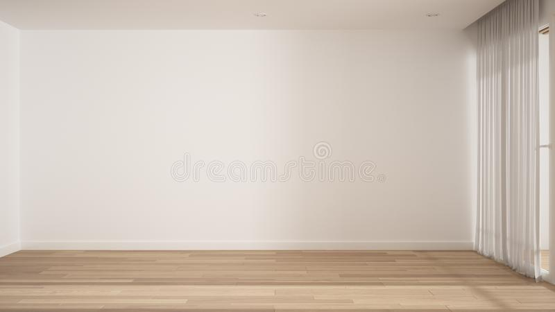 Empty room interior design, open space with white walls and parquet wooden floor, modern contemporary architecture, morning light. Mock-up with copy space stock photos