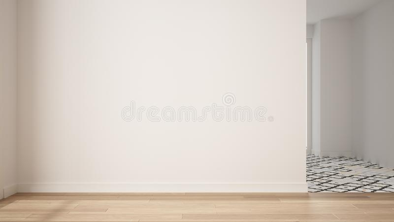 Empty room interior design, open space with white walls and parquet wooden floor, modern contemporary architecture, morning light. Mock-up with copy space royalty free stock photos