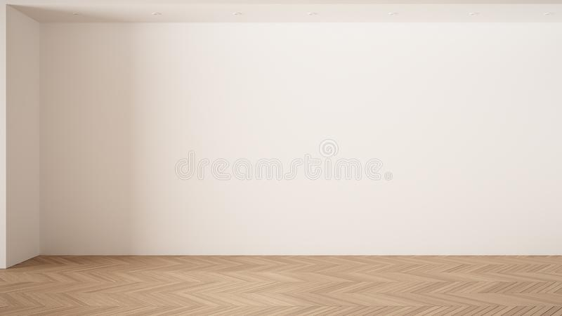 Empty room interior design, open space with white walls and parquet wooden floor, modern contemporary architecture, morning light. Mock-up with copy space royalty free illustration