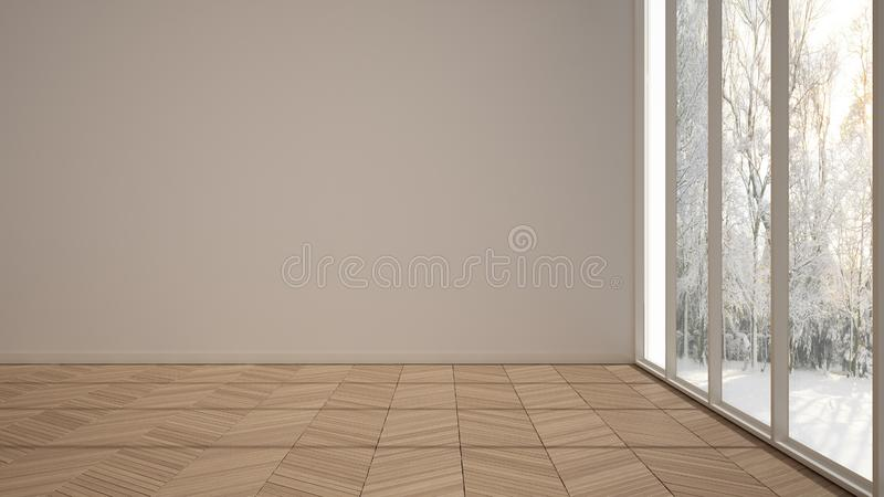 Empty room interior design, open space with white walls and parquet wooden floor, modern contemporary architecture, morning light. Panoramic windows, mock-up vector illustration