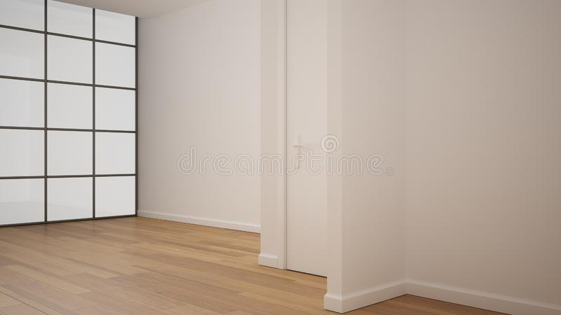 Empty room interior design, open space with white walls and parquet wooden floor, modern contemporary architecture, no people,. Mock-up with copy space stock illustration