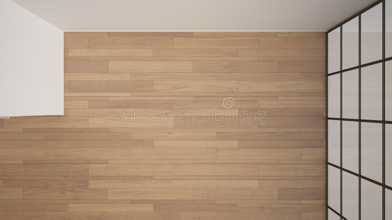 Empty room interior design, open space with white walls and parquet wooden floor, modern contemporary architecture, no people,. Mock-up with copy space, top stock illustration