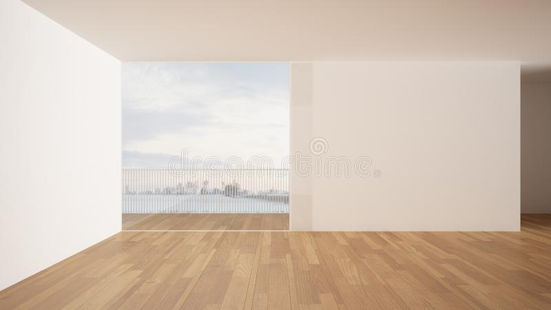 Empty room interior design, open space with white walls and parquet wooden floor, modern contemporary architecture, panoramic. Window, morning light, mock-up royalty free illustration