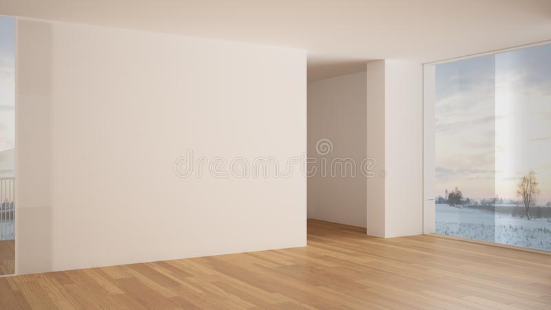 Empty room interior design, open space with white walls and parquet wooden floor, modern contemporary architecture, panoramic. Window, morning light, mock-up stock illustration