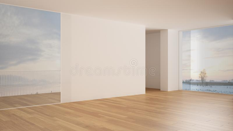 Empty room interior design, open space with white walls and parquet wooden floor, modern contemporary architecture, panoramic. Window, morning light, mock-up vector illustration