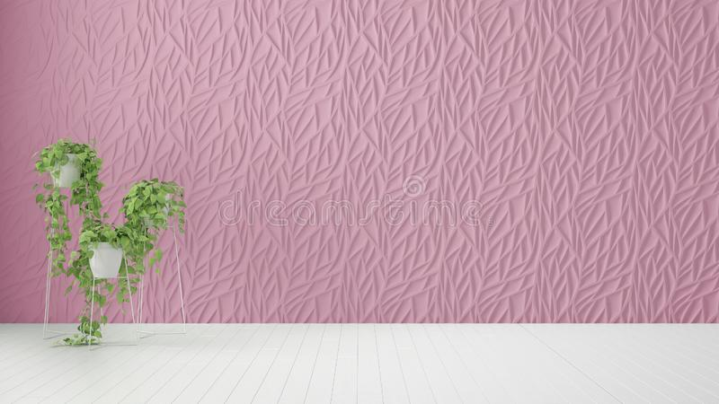 Empty room interior design, pink decorated molded panel, wooden white floor and potted plant, modern architecture background with. Copy space, template mockup royalty free stock image