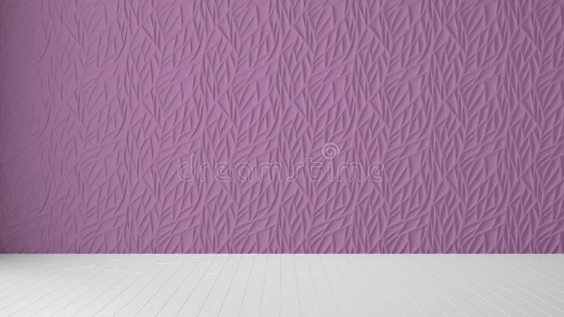 Empty room interior design, purple panel and wooden blank floor, modern architecture background with copy space, template mockup. Idea royalty free stock photo