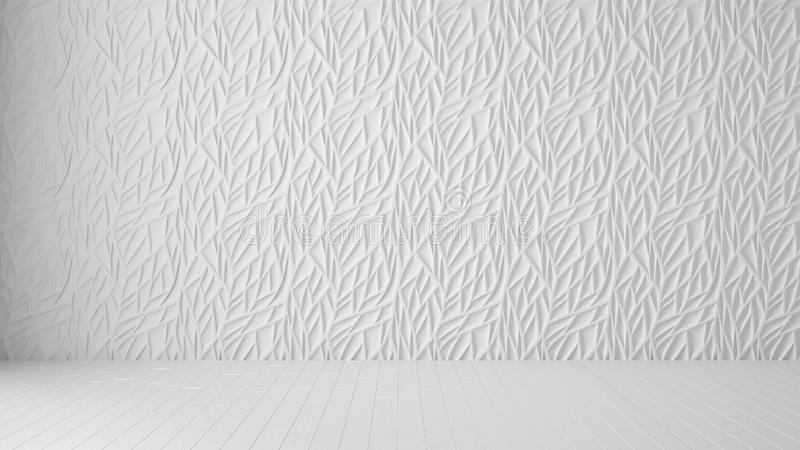Empty room interior design, white panel and wooden blank floor, modern architecture background with copy space, template mockup. Idea royalty free stock photography