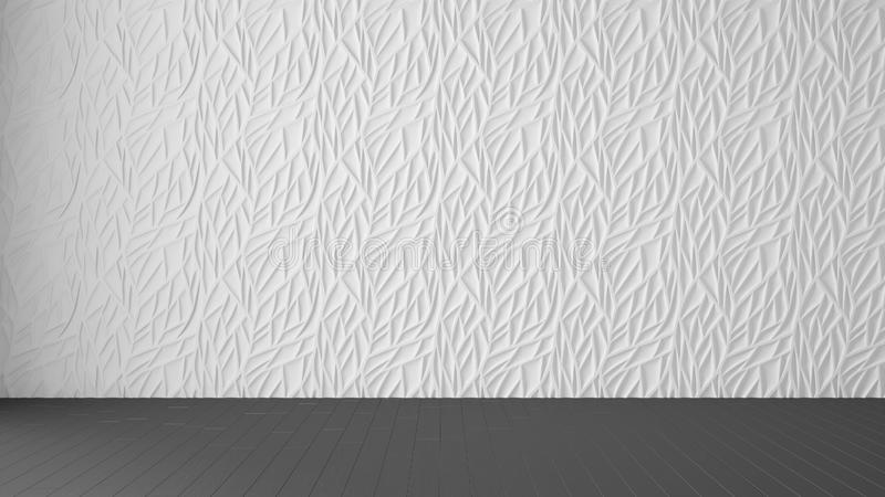 Empty room interior design, white panel and wooden gray floor, modern architecture background with copy space, template mockup. Idea vector illustration