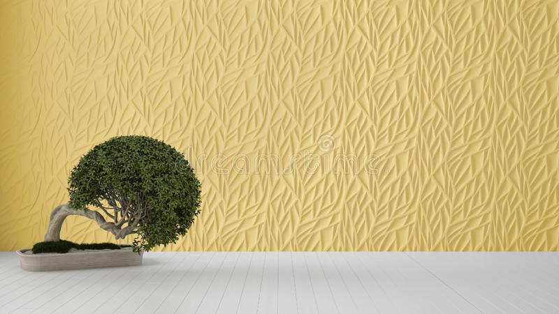 Empty room interior design, yellow decorated molded panel, wooden white floor and potted plant, modern architecture background. With copy space, zen template royalty free stock photos