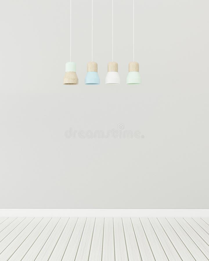 Empty room with lamp.Cozy space in condominium. 3d rendering vector illustration