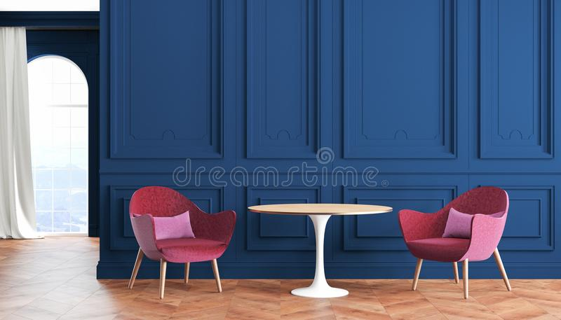 Empty room modern classic interior with blue, indigo walls, red, burgundy armchairs, table, curtain and window. vector illustration