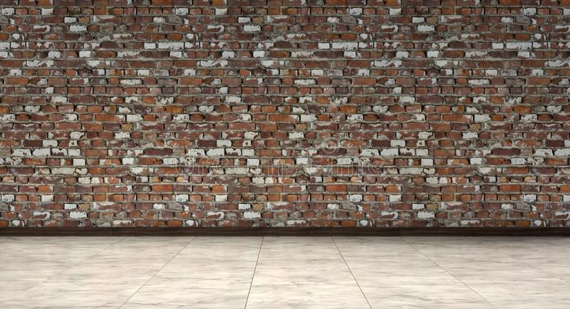 Empty room, waiting lobby, with old brown brick walls and marble floor, 3d Rendering. Empty room with old brown brick walls and marble floor, 3d Rendering stock photos