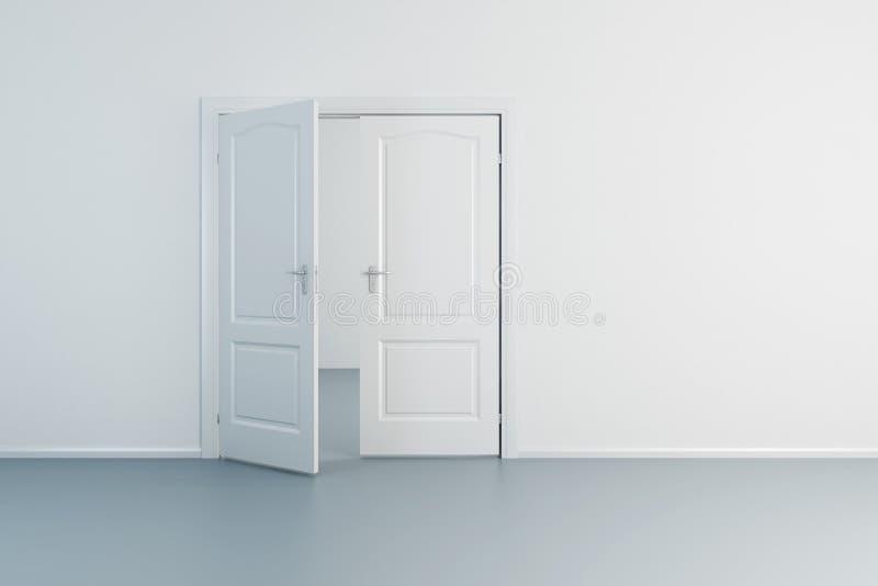 Empty room with opened door. Empty white room with opened door stock illustration