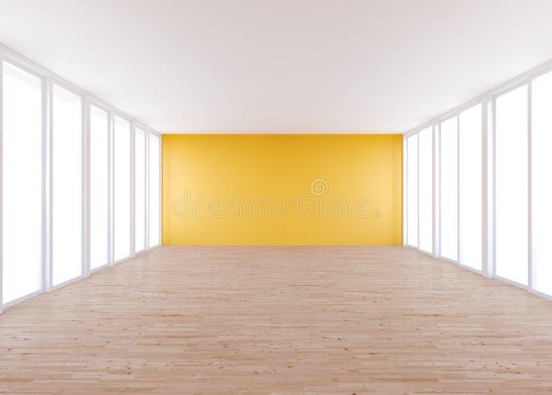 Empty Room , Orange Wall Stock Images