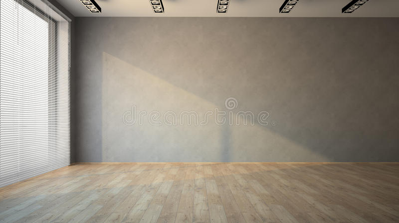 Empty room with parquet floor. 3D stock photography