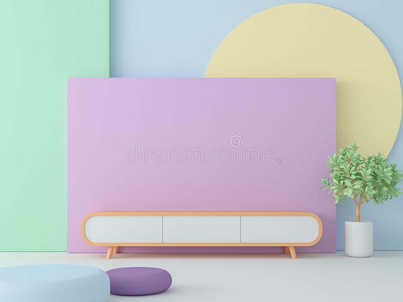 Empty room with pastel color 3d render royalty free illustration